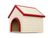 Casa di cane di legno su fondo bianco 3d rendono i cilindri di image Fotografia Stock Libera da Diritti