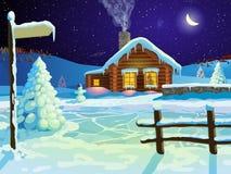 Casa di ceppo in neve Fotografia Stock