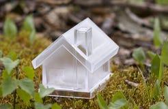 Casa di cristallo sopra muschio Fotografia Stock Libera da Diritti