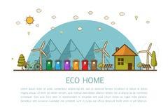 Casa di Eco con l'illustrazione di vettore dei recipienti illustrazione di stock