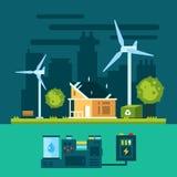 Casa di Eco nella scena urbana con energia verde illustrazione di stock
