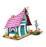 Casa di favola con il tetto rosa Immagine Stock