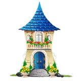 Casa di favola con un balcone con i fiori Illustrazione di Stock