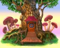 Casa di fiaba nell'albero Fotografie Stock Libere da Diritti
