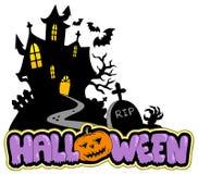 Casa di Halloween con il segno 2 Fotografia Stock Libera da Diritti