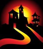 Casa di Halloween nella nerezza illustrazione di stock