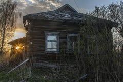 Casa di legno abbandonata Fotografia Stock