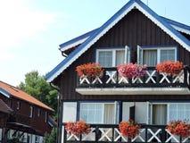 Casa di legno con il balcone Immagine Stock Libera da Diritti