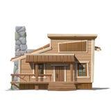 Casa di legno con il camino di pietra in stile country Fotografia Stock