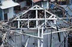 Casa di legno di rovina Fotografie Stock