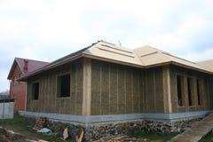 Casa di legno fatta di paglia Immagine Stock Libera da Diritti