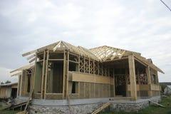 Casa di legno fatta di paglia facade Immagine Stock Libera da Diritti