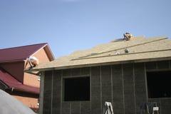 Casa di legno fatta di paglia facade Fotografia Stock Libera da Diritti