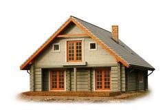 Casa di legno isolata su bianco Immagini Stock