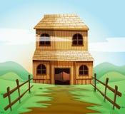 Casa di legno nel campo royalty illustrazione gratis