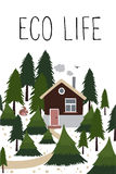 Casa di legno nella foresta di conifere illustrazione di stock