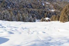 Casa di legno nelle montagne con neve ed alberi nell'inverno nelle alpi di Stubai Immagine Stock Libera da Diritti