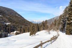 Casa di legno, panorama della montagna, alberi e percorso con neve nell'inverno nelle alpi di Stubai Fotografie Stock
