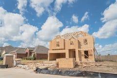 Casa di legno di legno Pearland in costruzione, il Texas, U.S.A. Fotografie Stock Libere da Diritti