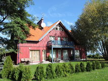 Casa di legno rossa Fotografie Stock
