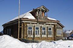Casa di legno rustica russa delle fine del XIX secolo Fotografia Stock Libera da Diritti
