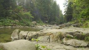 Casa di legno su una banca del fiume basso rapido della montagna stock footage
