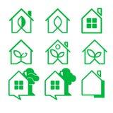 Casa di logo Un insieme di nove logos Icone della Camera Fotografie Stock Libere da Diritti