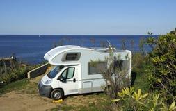 Casa di Mobil alla spiaggia Fotografia Stock Libera da Diritti