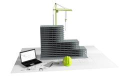 Casa di modello in costruzione, computer, casco, visualizzazione 3D Immagini Stock Libere da Diritti