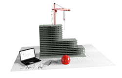Casa di modello in costruzione, computer, casco, visualizzazione 3D Fotografie Stock Libere da Diritti