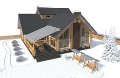 Casa di modello di architettura con l'ambiente bianco 3D Fotografia Stock