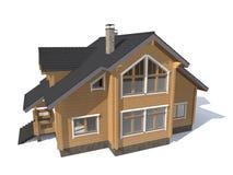 Casa di modello di architettura isolata in 3D bianco Immagine Stock