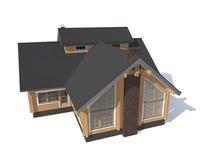 Casa di modello di architettura isolata in 3D bianco Fotografia Stock Libera da Diritti