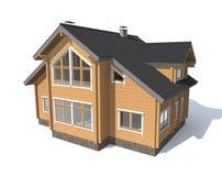 Casa di modello di architettura isolata in 3D bianco Immagine Stock Libera da Diritti