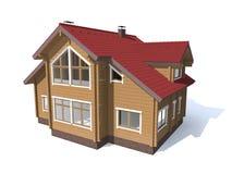 Casa di modello di architettura isolata in 3D bianco Fotografia Stock