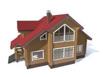 Casa di modello di architettura isolata nel bianco Fotografia Stock Libera da Diritti