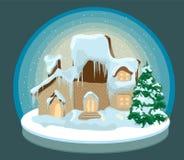 Casa di natale nella neve Fotografie Stock