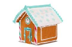 Casa di pan di zenzero di Natale con un orologio, per testo Fotografie Stock