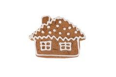 Casa di pan di zenzero di Natale isolata su un fondo bianco Fotografie Stock Libere da Diritti