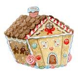 Casa di pan di zenzero dell'illustrazione della cartolina dell'acquerello Immagini Stock Libere da Diritti