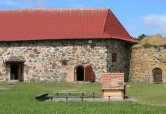 Casa di pietra del castello medioevale Fotografia Stock