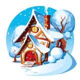 Casa di pietra rustica Paesaggio di inverno fotografia stock libera da diritti