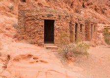 Casa di pietra storica in valle di fuoco Nevada fotografie stock libere da diritti