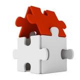 Casa di puzzle con il tetto rosso Fotografia Stock Libera da Diritti