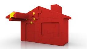 Casa di puzzle della costruzione che caratterizza bandiera della Cina Emigrazione cinese, costruzione o mercato immobiliare 3D co illustrazione di stock