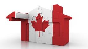 Casa di puzzle della costruzione che caratterizza bandiera del Canada Emigrazione, costruzione o mercato immobiliare canadese 3D  royalty illustrazione gratis