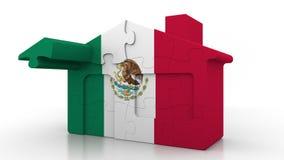 Casa di puzzle della costruzione che caratterizza bandiera del Messico Emigrazione messicana, costruzione o mercato immobiliare 3 illustrazione vettoriale