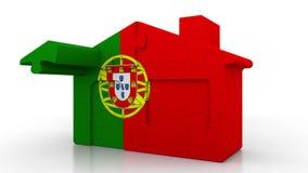 Casa di puzzle della costruzione che caratterizza bandiera del Portogallo Emigrazione, costruzione o mercato immobiliare portoghe illustrazione di stock