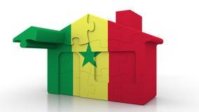 Casa di puzzle della costruzione che caratterizza bandiera del Senegal Emigrazione, costruzione o mercato immobiliare senegalese  royalty illustrazione gratis