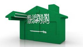 Casa di puzzle della costruzione che caratterizza bandiera dell'Arabia Saudita Emigrazione, costruzione o mercato immobiliare ara illustrazione di stock